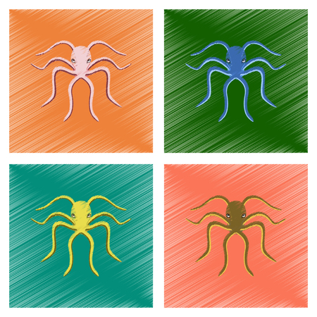 assembly flat shading style illustration octopus Ilustrace