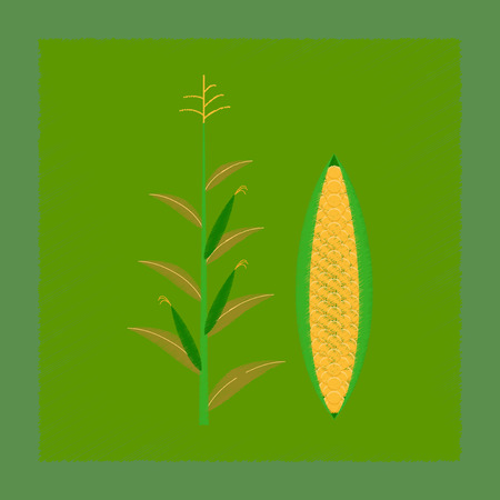 トウモロコシのフラット シェーディング スタイル イラスト