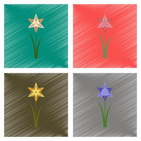 assembly flat shading style illustration flower narcissus