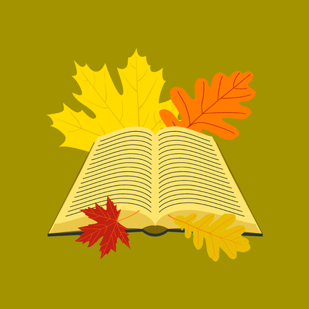 Open book icon with leaves on stylish background.