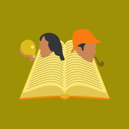 Book classics icons on stylish background. Illustration