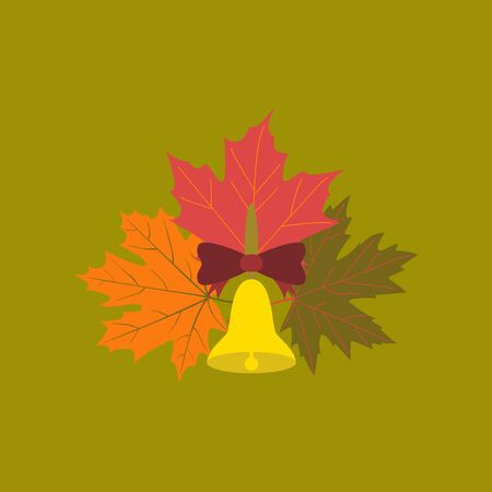 Alarm school bell with leaves on stylish background. Illustration