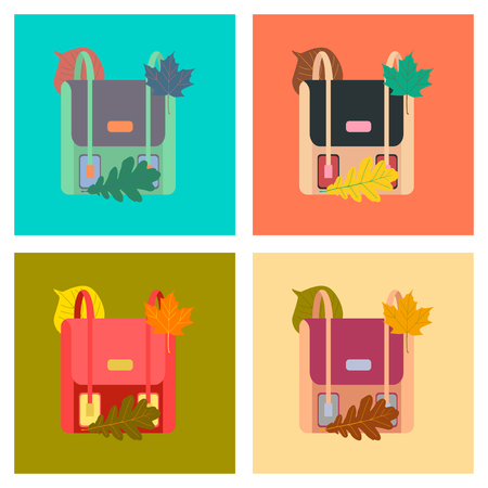 Set of colourful school bags assembly flat icons illustration.