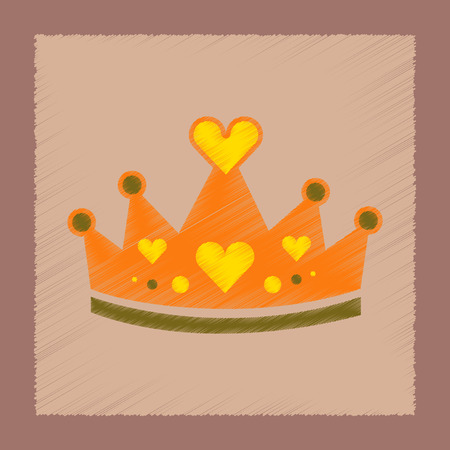Royal crown in flat shading style icon illustration.