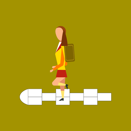 Schoolgirl hopscotch flat icon on stylish background