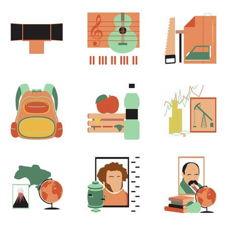 Set of educational school lessons concept assembly flat icons illustrations.