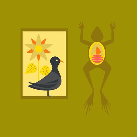 flat icon on stylish background Biology frog bird flowers Stock Photo