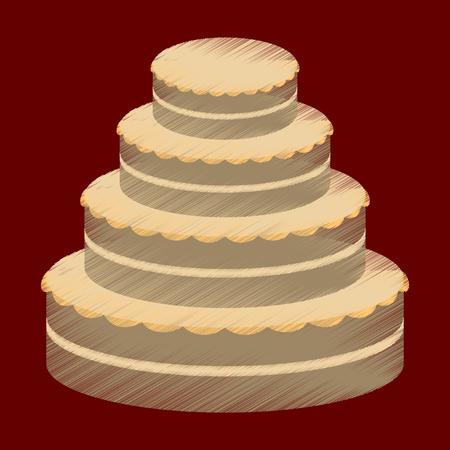 blueberry muffin: flat shading style icon wedding cake Illustration