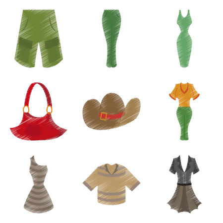 assembly flat shading style icons clothes elegance