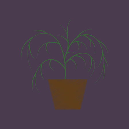 flat shading style icon plant in a pot Çizim