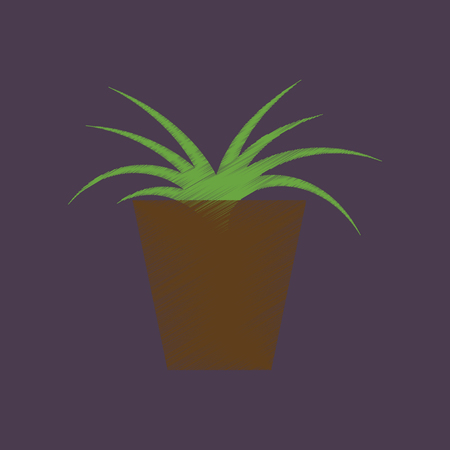 aloe vera plant: flat shading style icon flower in pot aloe Illustration