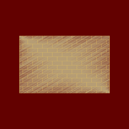 flat shading style icon Brick wall architectural 向量圖像
