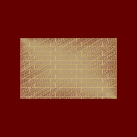 flat shading style icon Brick wall architectural Illustration
