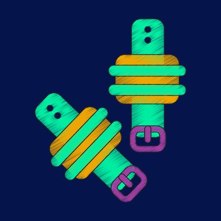flat shading style icon Athletic weights on legs Illustration
