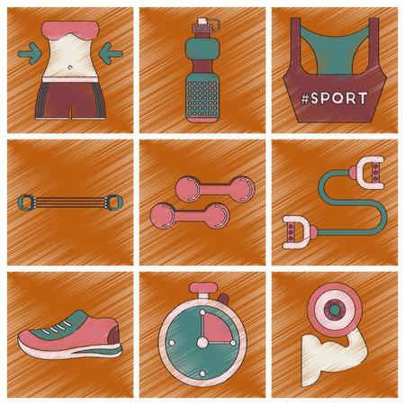 Set van vlakke schaduwstijl iconen Fitnessapparatuur