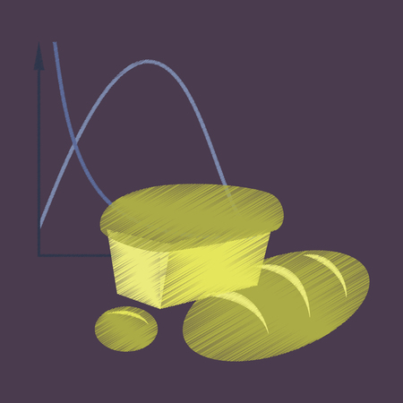 flat shading style icon Bread chart Illustration