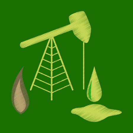 flat shading style icon Gas and oil production Illustration