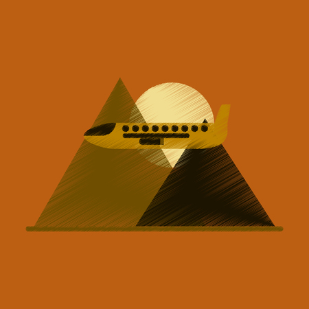 Flat Icon in Shading Style Plane in the mountains Illustration