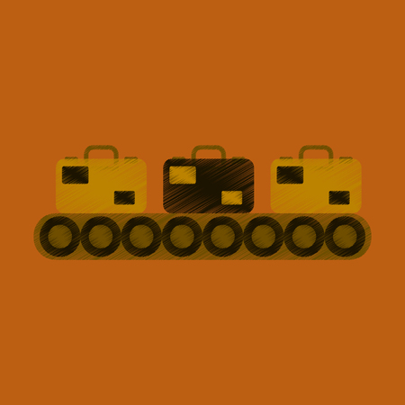 handlers: Flat Icon in Shading Style Baggage claim Illustration