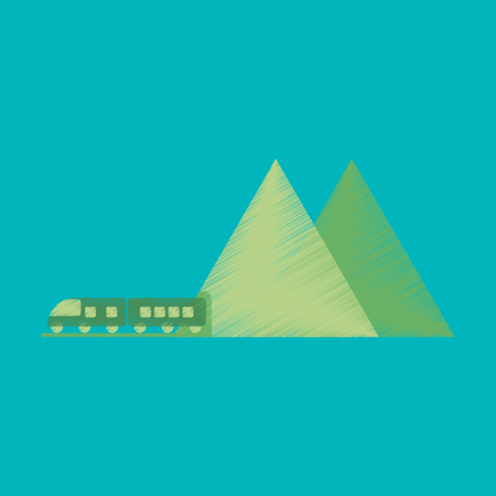 Flat Icon in Shading Style mountain train