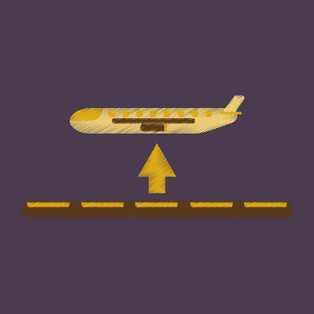 Flat Icon in Shading Style plane takeoff airport