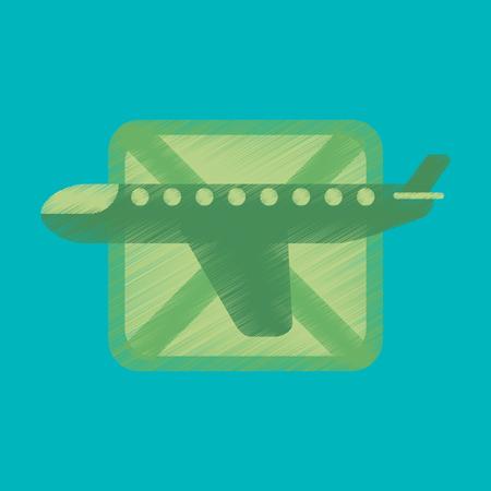 Flat Icon in Shading Style airplanes flight banned Illusztráció