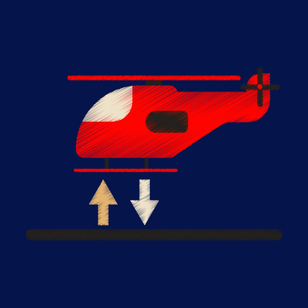 Flat Icon in Shading Style Helicopter landing