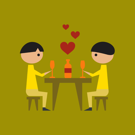 flat icon on stylish background gay romantic dinner Vectores