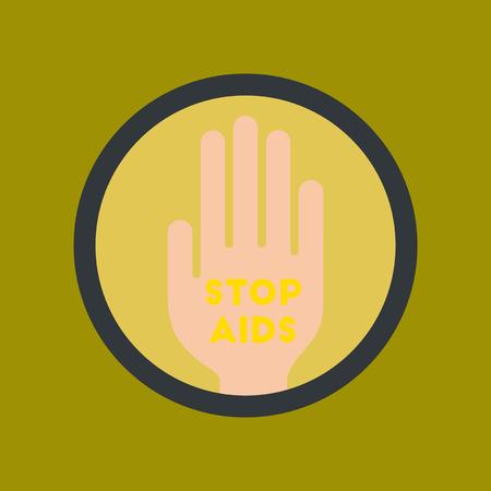 flat icon on stylish background Stop AIDS symbol