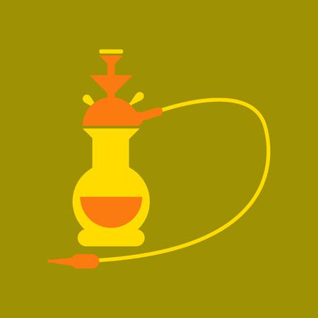 flat icon on stylish background Eastern hookah smoke