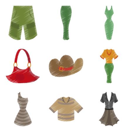 assembly flat shading style icons clothes Illustration