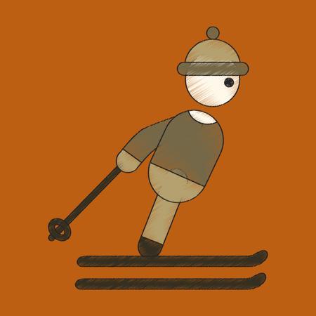 flat shading style icon skier