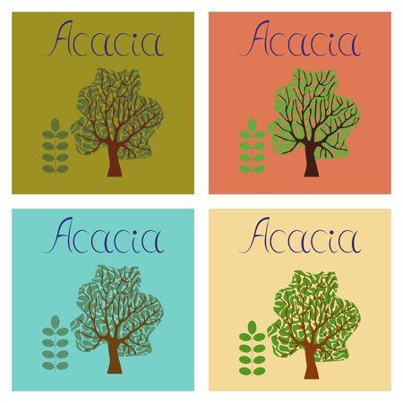 assembly flat Illustrations nature plant Acacia Ilustração