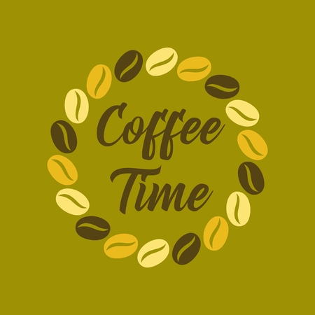 flat icon on background bean Coffee time