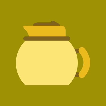 steel pan: icono de plano sobre fondo hervidor de vajilla de café