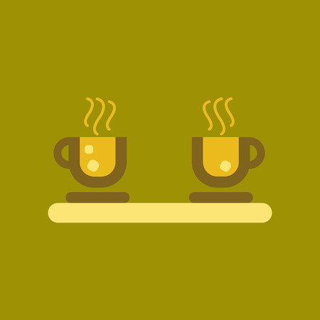 flat icon on background coffee cup flavor