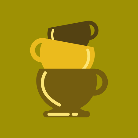 flat icon on background coffee three cups