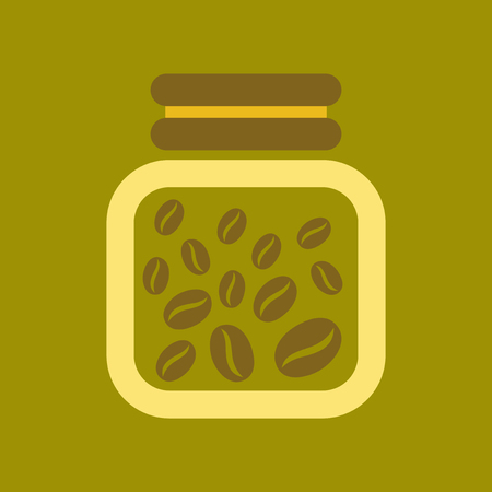 flat icon on background coffee jar of beans