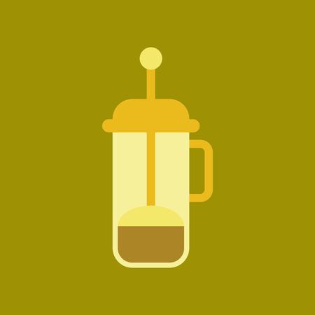 modern kitchen: flat icon on background coffee machine maker