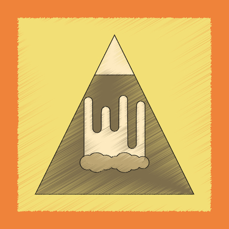 flat shading style icon mountain avalanche