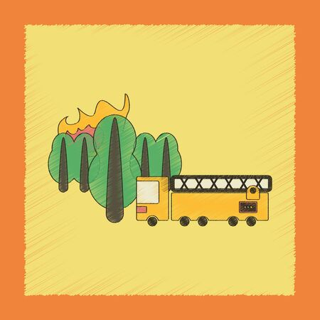 flat shading style icon Forest fire truck