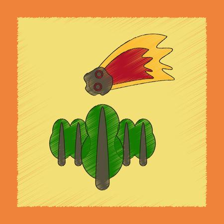 flat shading style icon falling meteorite Illustration