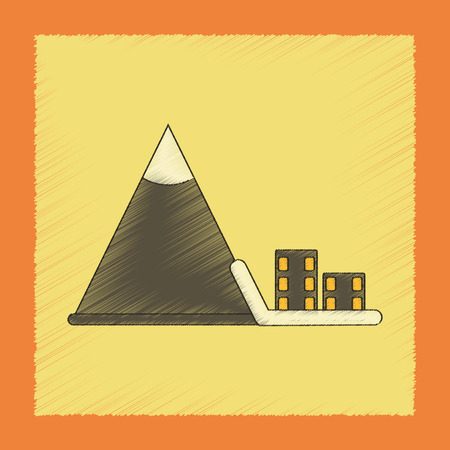 flat shading style icon Mountain avalanche house