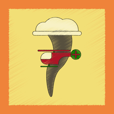 flat shading style icon tornado helicopter
