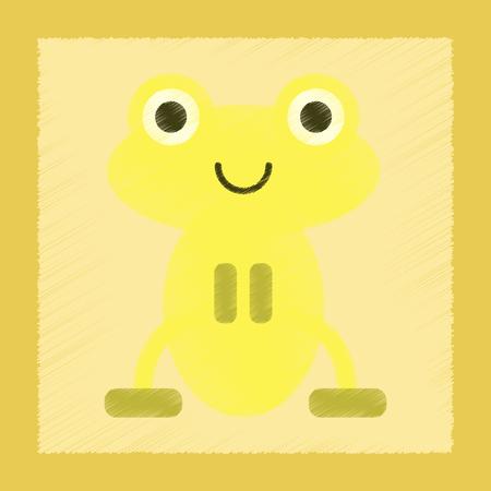flat shading style icon Cute frog cartoon Illustration