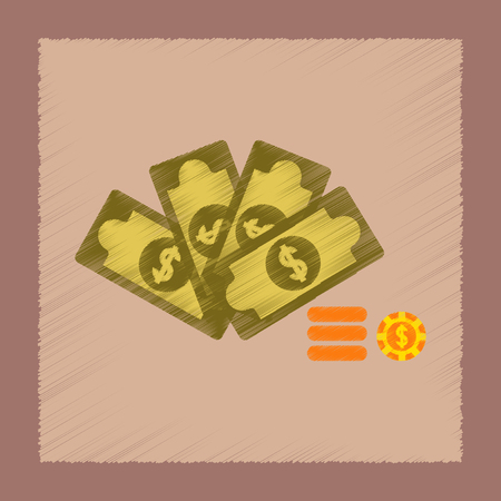 flat shading style icon Money dice chips Illustration