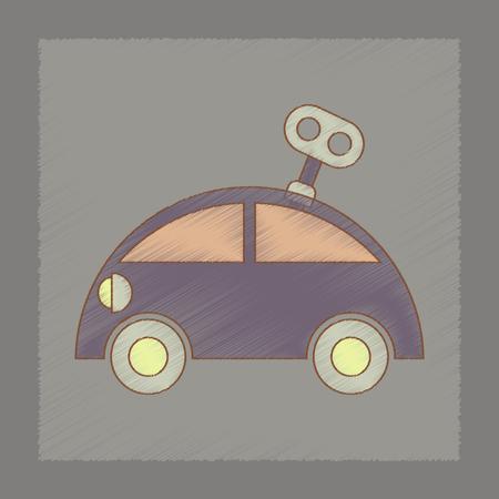 printed machine: flat shading style icon Kids car with key