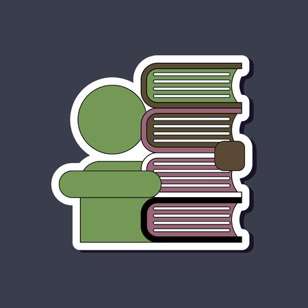 paper sticker on stylish background schoolboy books