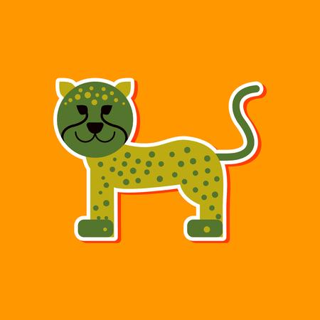 paper sticker on stylish background cartoon leopard