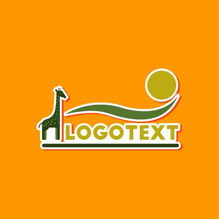 paper sticker on stylish background giraffe logo Illustration